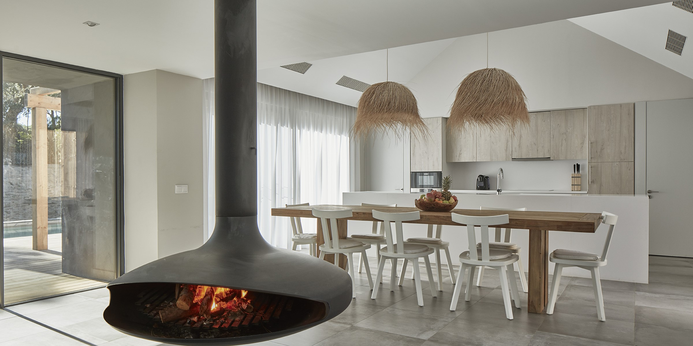 Villa Sublime Comporta Living Room Kitchen W Fire 0141 LR